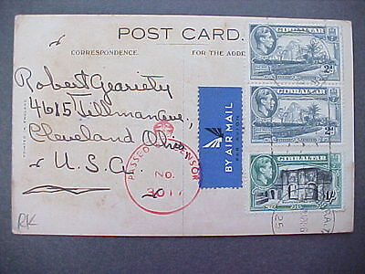Girbaltar: 1940s Airmail RMS Berengaria Censored Postcard to the USA
