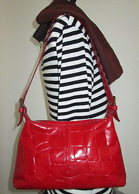 Authentic Vintage Mulberry Christmas Red Congo Leather  Shoulder Bag & Dustbag