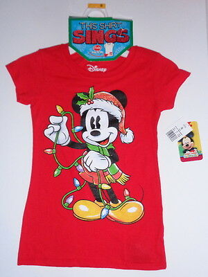 MICKEY MOUSE,girls small MUSICAL shirt short sleeve,Disney Christmas, NEW w/ tag