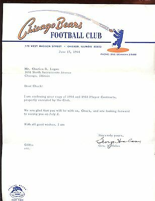 1964 Chicago Bears Football Football Letter Signed by George Halas Hologram