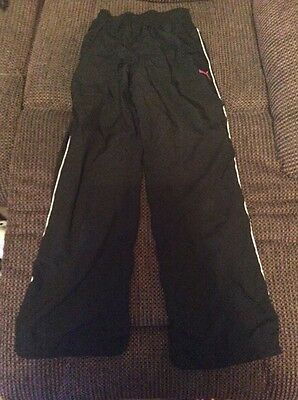 Puma Tracksuit Bottoms. Black With Pink Puma. 9-10 Years