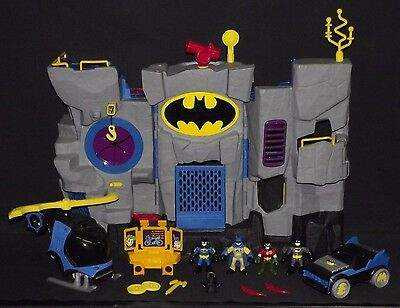 Fisher Price Imaginext Dc Super Friends Batcave, Batmobile And Batcopter Lot