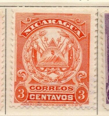Nicaragua 1909 Early Issue Fine Mint Hinged 3c. 110918