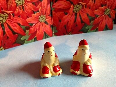 Antique Rare Two Mini Santa Candle Holder Hand Painted German