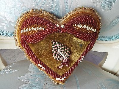 Antique Iroquois Native American Indian Beaded Whimsey Heart Pillow Cushion Nr