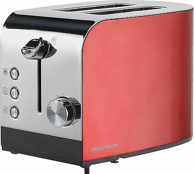 Morphy Richards 44206 Accents 850W 2 Slice Stainless Steel Toaster - Red :Argos
