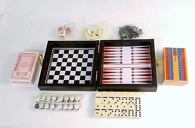6-in-1 Travel Game Case ~ Chess, Checkers, Backgammon, Cribbage, Cards, Dominoes