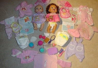 Lot 2006 Hasbro Baby Alive Soft Face Doll & 2010 Doll Food Clothing Bottles EUC!