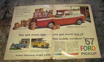 1957 Ford Trucks Commercial Pickups Cars Automobile Vintage Sales Print Ad