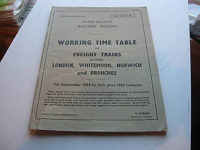 Working Timetable BR(ER)  London Norwich 1964