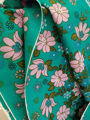 Vintage Retro Original 60s 70s Flower Design Fabric Turquoise Lilac Pink