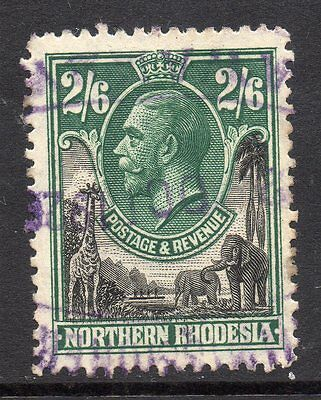 1925 Northern Rhodesia S.G.12 2/6 Black & Green KGV with Revenue/Fiscal cancel.