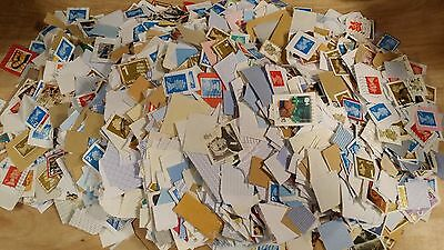 1 Kg Mixed Franked On Paper mainly GB Kiloware Stamps with a few foreigners