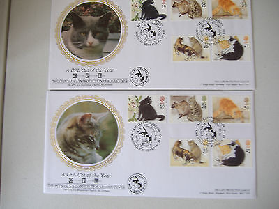 4 Cats Protection Leage FDCs 1995 Cat Stamps