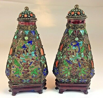 Two Rare Vintage Chinese Filigree  Coral & Turquise Adorned Snuff Bottles