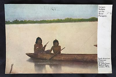 Old Postcard Lengua Indians On River Paraguay - Missionary Society London - 1921