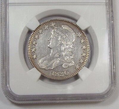 NGC Genuine 1830 Capped Bust/Lettered Edge Silver 50c AU Details