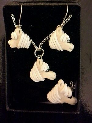 Fimo horse jewellery set - necklace, earrings, and brooch brand new boxed