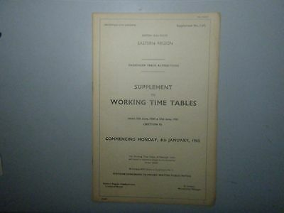 1965 BR Eastern Region Supplement to Working Time Tables No.3(F)