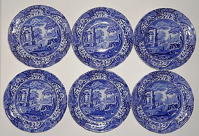 6 x Copeland Spode Blue Italian Side / Tea Plates 6 ¼ inch Black Stamp