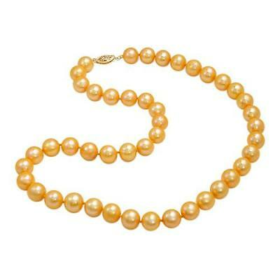 14K Gold 9-10 Mm Golden Cfw Pearls Necklace