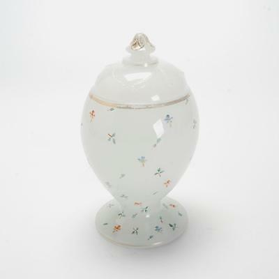 Antique Hand-Painted Milk Glass Candy Jar