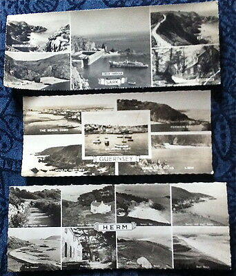 Three Channel Islands Multiview Panoramic Postcards - Sark Herm Guernsey