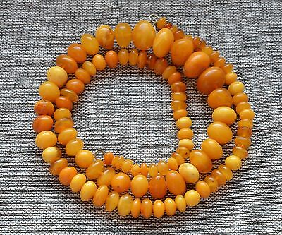 38,3 gr Genuine natural baltic amber round beads necklace egg yolk butterscotch