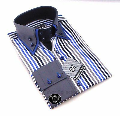 Brand New Mens White Blue & Grey Striped Double Collar Shirt Slim Fit Formal