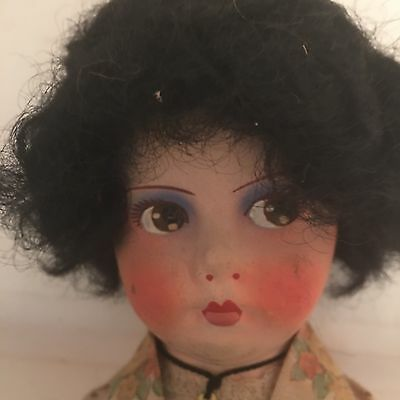 """Antique Vintage Bisque Cloth French Body Painted Face Jointed Doll 11"""" Cross"""