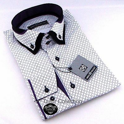 Brand New Mens White Black Purple Patterned Double Collar Shirt Slim Fit Casual