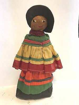 Vintage Seminole Indian Palmetto Fiber Hand Crafted Beaded Necklace Doll