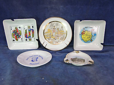 5 Vintage Eclectic China Ashtrays - 20th C [9438]