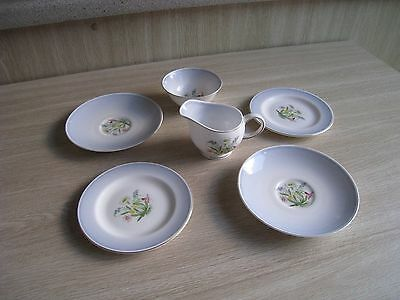 Susie Cooper Romance Blue, Four Saucers & Side Plates Milk Jug And Sugar Bowl