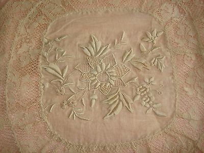 Beautiful Antique Normandy Lace Pillow Case Sham Off White With Pink Backing
