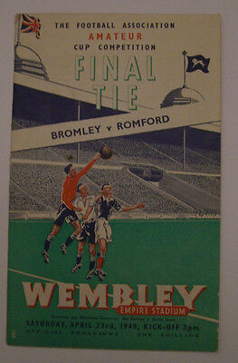 FA Amateur Cup Final Programme 1949 - Bromley v Romford