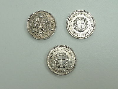 3 UNCIRCULATED SILVER 3d THREEPENCES 1936 1938 1941
