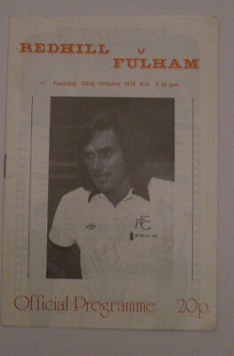 Redhill v Fulham - Friendly Fixture - Tuesday 23rd October 1976 - Best, Moore.
