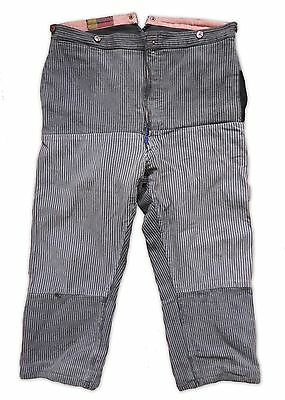 VTG 1930s FRENCH WORKWEAR CHORD TROUSERS MAQUIGNON CHORE DARNED PATCHWORK HOBO