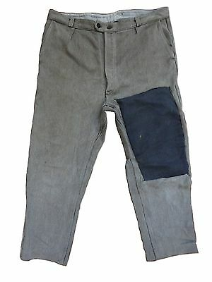 Vtg French Chord Salt And Pepper Workwear Trousers Chore Darned Hobo Patchwork
