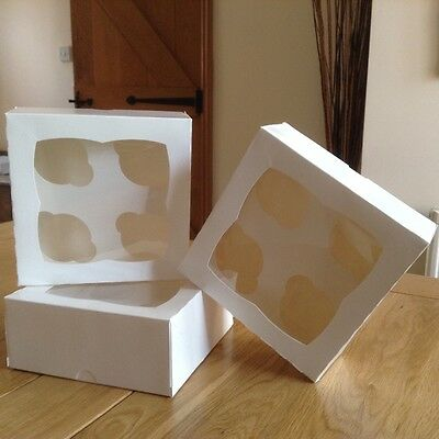 100 x White Cupcake Boxes with window and inserts hold 4 cupcakes