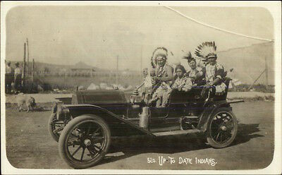 Native Americans in Car UP TO DATE INDIANS c1910 Real Photo Postcard dcn