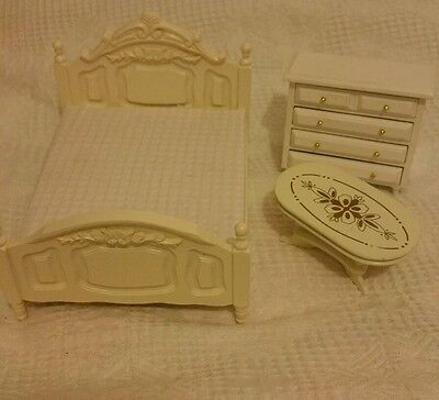The Dolls House Emporium white bedroom furniture. 1/ 12th scale.