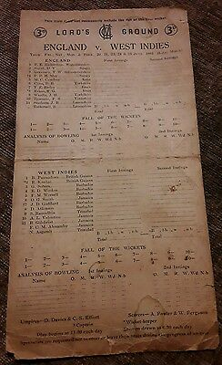 England v west indies 1957 Lords cricket score card rare
