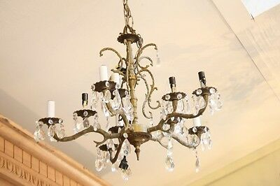Antique Chandelier Lighting Bronzed Metal 5 Arm 10 Lights Tons Prisms 23""