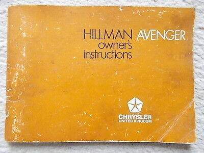 Hillman Avenger Owners Instruction Manual / Handbook 1972,  part no 76601569
