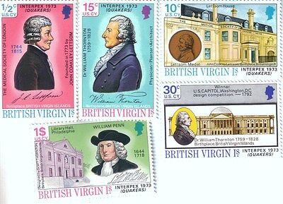 Set of MNH Postage stamps from British Virgin Islands - 1973 - Interplex Quakers