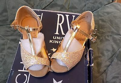 Girls Gold Sparkly Roch Valley Ballroom/latin Dance Shoes Brand New Size 7