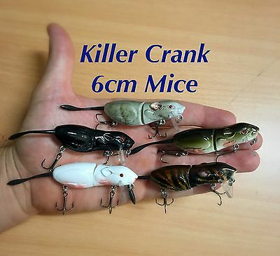 New 6cm Killer Crank Rattle Mouse/Rat (5 Pack) Surface Cod/Bass Fishing Lure