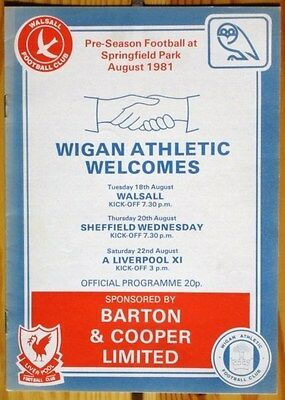 Wigan Athletic v Walsall & Sheffield Wednesday & Liverpool XI 81/82